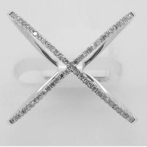 Jewelry - 14k White Gold Diamond Criss Cross Ring